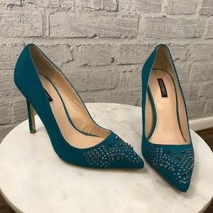 Shoemint Turquoise Spiked Heels